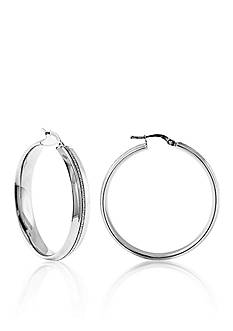 Belk & Co. Sterling Silver Channel Glitter Hoop Earrings
