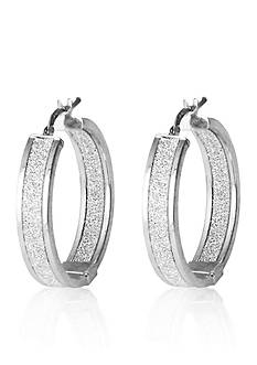 Belk & Co. Sterling Silver Sparkle Hoop Earrings