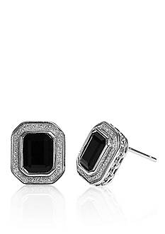 Belk & Co. Onyx Glitter Border Earrings in Sterling Silver