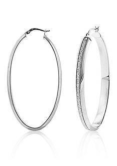 Belk & Co. Sterling Silver Beveled Edge Hoop Earrings