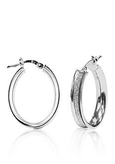Belk & Co. Sterling Silver Small Glitter Hoop Earrings