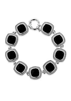 Belk & Co. Black Sparkle Boarder Onyx Cushion Bracelet in Sterling Silver