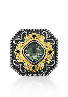 Belk & Co. Sterling Silver with 14k Yellow Gold Green Amethyst and Sapphire Ring