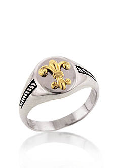 Belk & Co. Sterling Silver with 14k Yellow Gold Fleur-de-Lis Signet Ring
