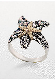 Belk & Co. Sterling Silver and 14k Starfish Ring