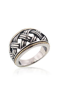 Belk & Co. Sterling Silver with 14k Basket Weave Ring