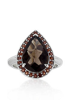Belk & Co. Sterling Silver Smokey Quartz and Garnet Ring