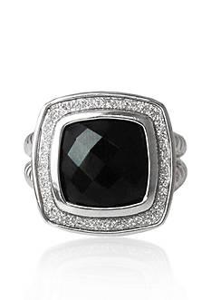 Belk & Co. Sterling Silver Onyx Sparkle Ring