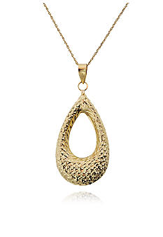 Belk & Co. 14k Yellow Gold Teardrop Diamond Cut Pendant