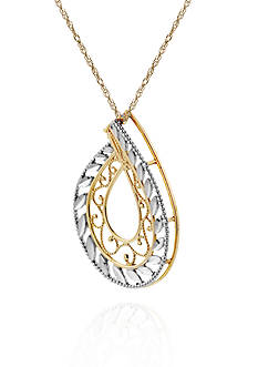 Belk & Co. 14k Two Tone Gold Teardrop Pendant