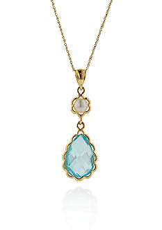 Belk & Co. 14k Yellow Gold Blue Topaz and Pearl Pendant