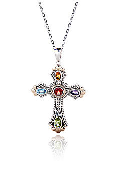Belk & Co. Sterling Silver and 14K Multi Gemstone Cross Pendant with 18