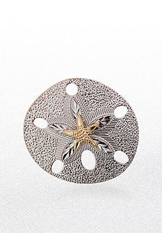 Belk & Co. Sterling Silver and 14k Yellow Gold Sand Dollar Omega Slide
