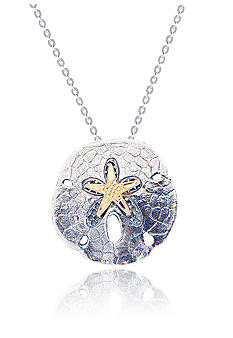 Belk & Co. Sterling Silver and 14k Sand Dollar Slide Pendant with 18