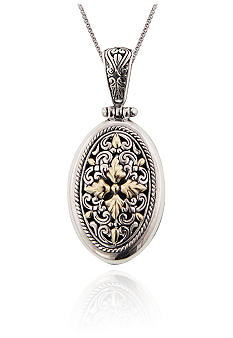 Belk & Co. Sterling Silver and 14k Oval Etruscan Pendant