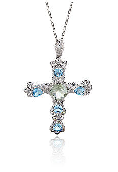 Belk & Co. Sterling Silver Multi Gemstone Cross with 18