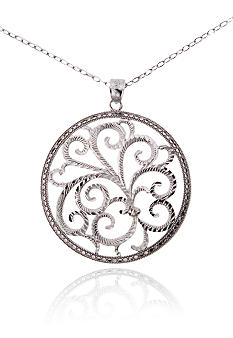 Belk & Co. Sterling Silver Large Filigree Medallion With 18-inch Chain