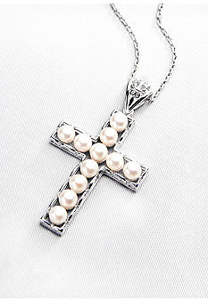 Belk & Co. Sterling Silver Freshwater Pearl Cross Pendant