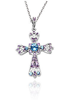 Belk & Co. Sterling Silver Swiss Blue Topaz and Amethyst Gemstone Cross