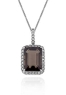 Belk & Co. Sterling Silver Smokey Quartz and White Topaz Pendant