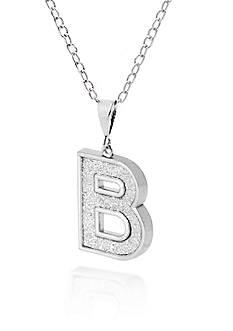 Belk & Co. Sterling Silver Glitter Initial B Pendant