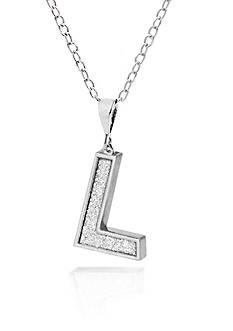 Belk & Co. Sterling Silver Glitter Initial L Pendant