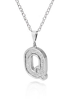 Belk & Co. Sterling Silver Glitter Initial Q Pendant