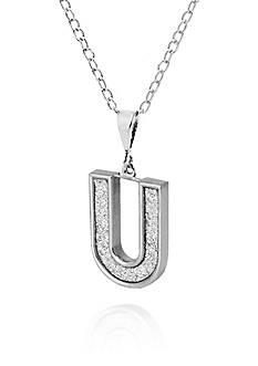 Belk & Co. Sterling Silver Glitter Initial U Pendant