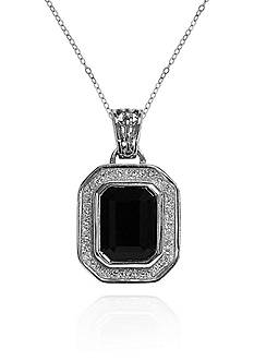 Belk & Co. Onyx Glitter Border Pendant in Sterling Silver