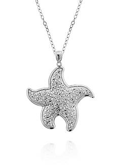 Belk & Co. Sterling Silver Bold Diamond Cut Accent Textured Sea Star Pendant