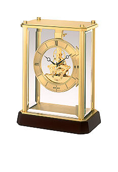 Seiko Gold Tone Metal and Glass Mantel Clock