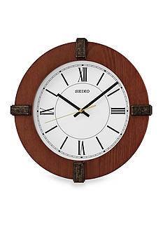 Seiko Brown Wooden Wall Clock with Bezel Ornaments