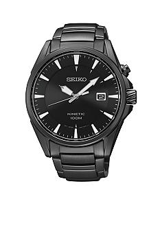 Seiko Men's 100 Meter Black Ion Finish Kinetic Sports Watch