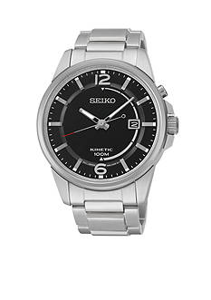 Seiko Men's Silver-Tone Black Dial Kinetic Watch