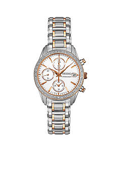 Seiko Ladies 30 Meter Silver and Rose Gold Crystal Chronograph