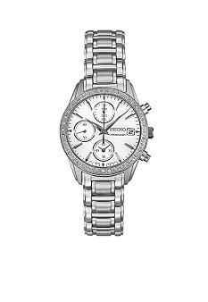 Ladies 30 Meter Stainless Steel Crystal Chronograph