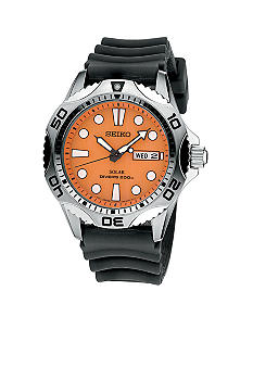 Seiko Mens Solar Dive Watch 200 Meter Orange Dial