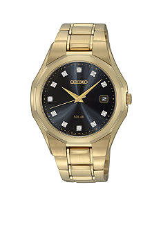 Seiko Men's 50 Meter Gold Solar Dress Watch