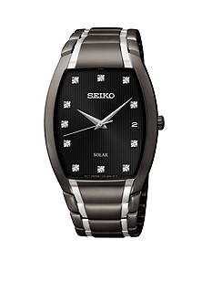 Seiko Men's 50 Meter Black Ion Finish Solar Dress Watch with Diamonds