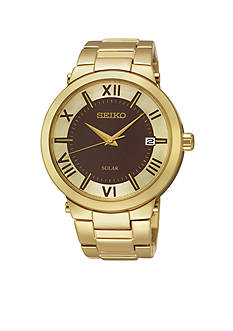 Seiko Women's Stainless Steel Gold-Tone Brown Dial Solar Watch