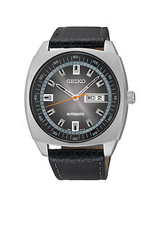 Seiko Men's Black Leather Black Dial Automatic Watch