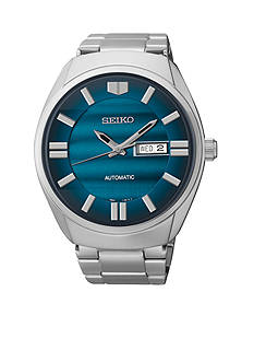 Seiko Men's Stainless Steel Silver-Tone Blue Dial Automatic Watch