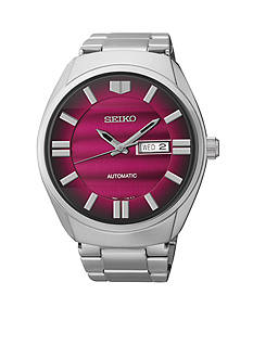 Seiko Men's Stainless Steel and Ceramic Silver-Tone Red Dial Automatic Watch