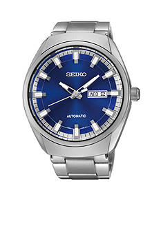 Seiko Men's Silver-Tone Blue Dial Automatic Calendar Watch