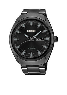 Seiko Men's Black Ion Finish Automatic Date Calendar Watch
