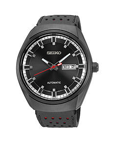 Seiko Men's Black Ion Finish Automatic Calendar Watch