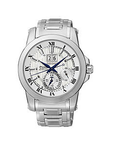 Seiko Men's Silver-Tone Dial Kinetic Perpetual Watch