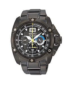 Seiko Men's 100 Meter Black Ion Finish Big Date Velatura Chronograph