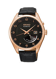 Seiko Men's Black Rose Gold Kinetic Retrograde Watch