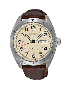 Seiko Men's Brown Leather with Cream Dial Watch